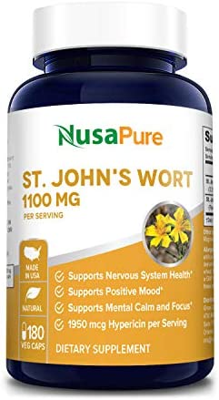 St. John s Wort 1100mg 180 Veggie Capsules Non-GMO Gluten Free 1950mcg Hypericin Saint Johns Wort for Mood, Anxiety Depression Support 550mg per Capsule