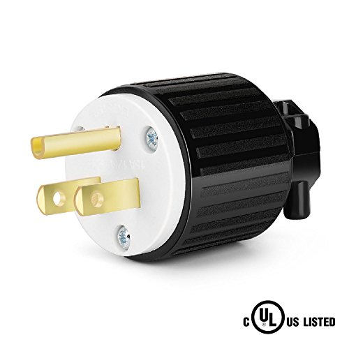 TNP NEMA 5-15P Male Plug, 15 Amp 125 Volt 2 Pole 3 Wire 2P 3W Industrial Grade Straight Blade Plug Adapter, Grounding Connector Cord Outlet Replacement, UL Listed