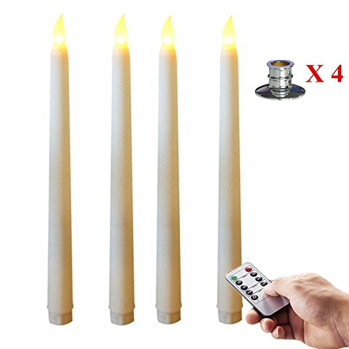 Package of 4 Taper LED Flameless Battery Operated Candle,11-Inch, Warm White Light, Remote Control