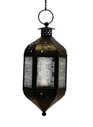 Clear Class Moroccan Candle Lantern with Chain