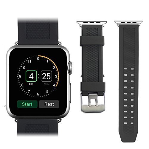 Apple Watch Strap,Mydeal Premium TPU Brecelet Strap Smart Watch Band Wristband Replacement W/ Metal Adapter Clasp & Stainless Steel Dual Buckle For Apple Watch iWatch & Sport & Edition 38mm - Black
