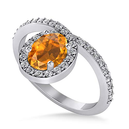 Shaped Oval Ring Citrine (Citrine and Diamond Nouveau Oval Shaped Ring 18K White Gold (1.36 ctw))