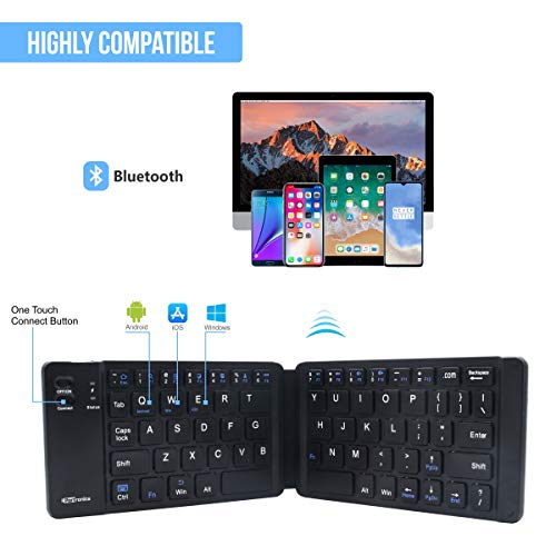 Portronics Chicklet a Foldable QWERTY Keyboard, Mini Pocket Sized, Rechargeable, Bluetooth Wireless, One Touch Connect Button, for iOS, Android and Windows Tabs, Smartphones, Black