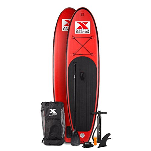 XTERRA Inflatable 10' Stand Up Paddle Board Premium SUP Bundle | Includes Board (6' Thick) , Pump, Adjustable Paddle, Easy Carry Backpack, Ankle Leash and Repair Kit