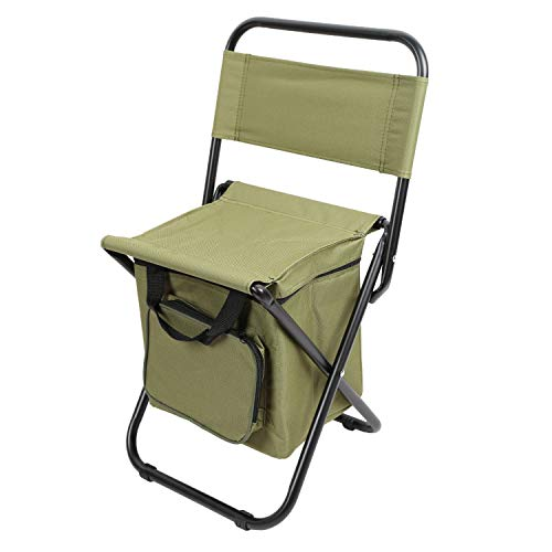 Folding Backrest Camping Fishing Chair Stool Backpack with Cooler Insulated Picnic Bag Hiking Seat Bag