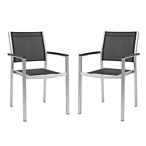 Aluminum Shore Dining Chair (Set of 2), Silver/Black (Aluminum Outdoor Dining Chair)