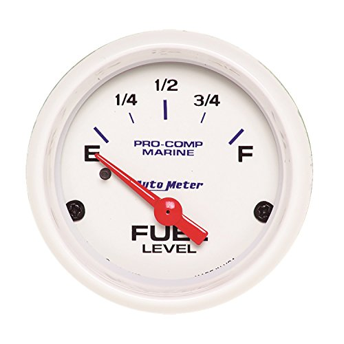 Autometer Fuel Level - AutoMeter 200760 Marine Electric Fuel Level Gauge 2-1/16 in. White Dial Face Fluorescent Red Pointer White Incandescent Lighting Air Core 240 Ohms Empty/33 Ohms Full Marine Electric Fuel Level Gauge