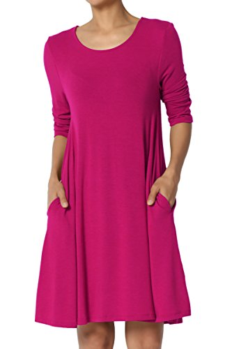 Dress Sleeves Mini Flared - TheMogan Women's 3/4 Sleeve Pocket Swing Flared Tunic Mini Dress Magenta M