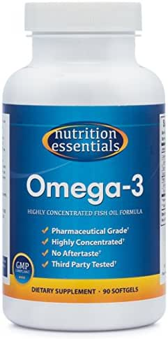 Nutrition Essentials Omega-3 Fish Oil Supplement | Best for Healthy Heart & Brain | Highly Concentrated Pharmaceutical Grade EPA & DHA | No Aftertaste | GMP Certified | Made in USA | 90 Softgels