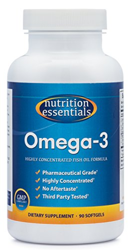 Nutrition Essentials Omega-3 Fish Oil Supplement | Best for Healthy Heart & Brain | Highly Concentrated Pharmaceutical Grade EPA & DHA | No Aftertaste | GMP Certified | Made in USA | 90 Softgels (Fish Oil Garlic)