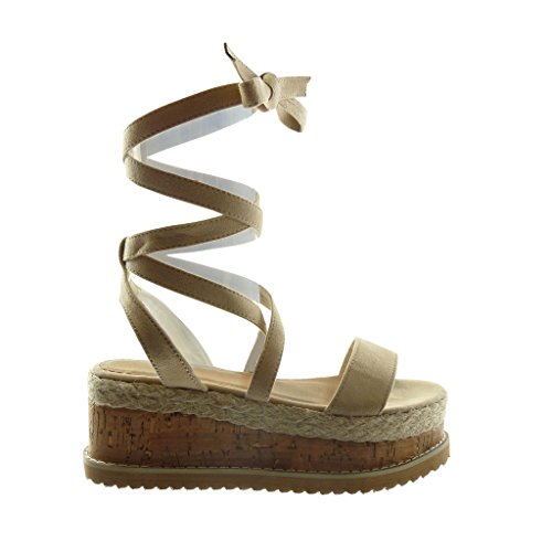 Sandali Alta Ciabatte Zeppa Cordino Beige Donna Cm 7 Scarpe Piattaforma Moda Angkorly Lacci tqOXBB