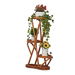 Cxraiy-HO Supporto per Fiori Balcone a Tre Piani Piano Pot Rack Rattan Flower Stand Outdoor Living Room Impianto di… 10 spesavip