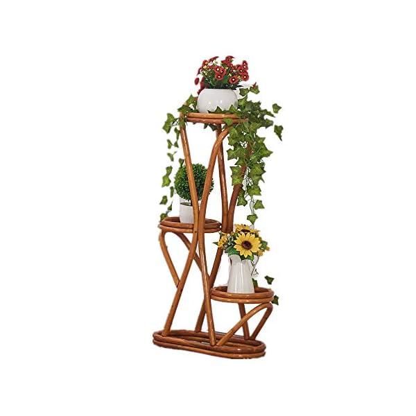 Cxraiy-HO Supporto per Fiori Balcone a Tre Piani Piano Pot Rack Rattan Flower Stand Outdoor Living Room Impianto di… 1 spesavip