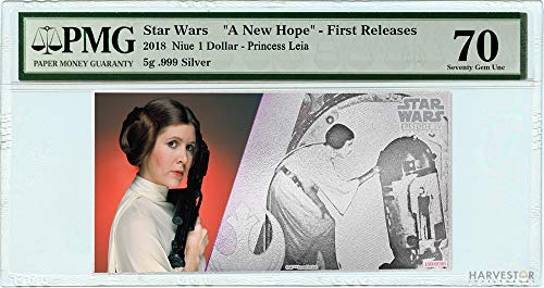 (2018 No Mint Mark Star Wars Princess Leia Silver Coin Note - Certified PMG 70 FIRST RELEASES - Gem Uncirculated - 5g Silver Note $1 Seller Gem Uncirculated)