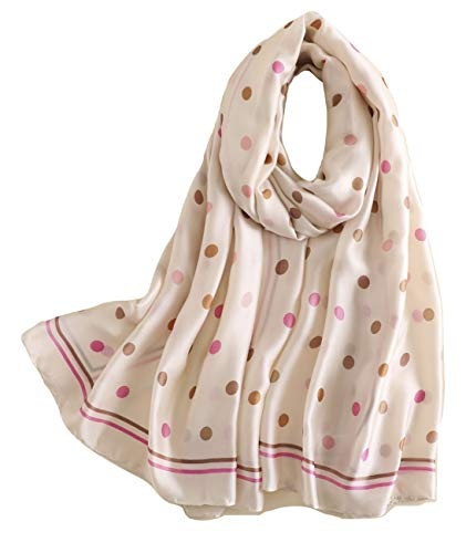 Shanlin Silk Feel Long Satin Pattern Scarves for Women (Pink Brown Dots)