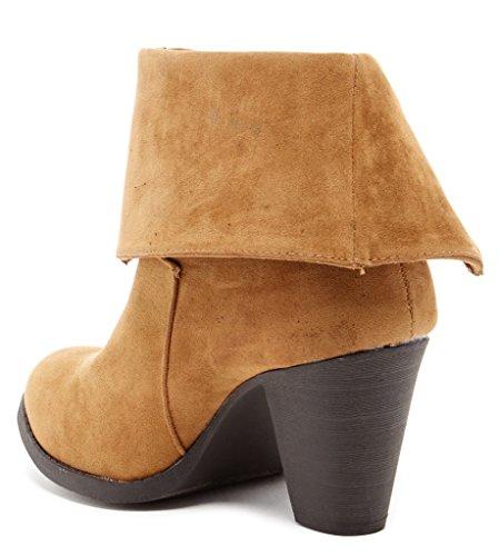 Bucco Priyanka Womens Fashion Foldover Stivaletti Taupe