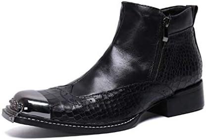 足首のブーツ、メンズカジュアルパーティーレトロ蛇Texureメタルポインテッドトゥハイトップ便利なジッパーフォーマルシューズ