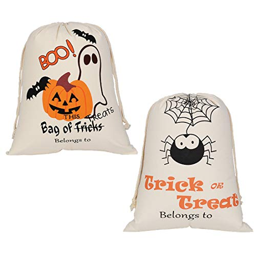 Uniwish Halloween Candy Bags - Trick or Treat Drawstring Goody Bags Party Favors for Kids Presents Durable Reusable Sacks, 2Pcs -