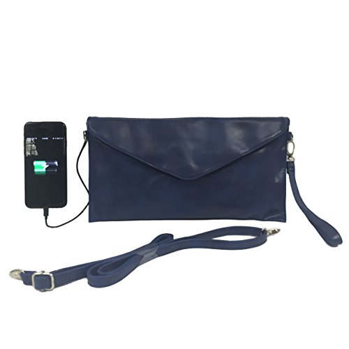 Womens Envelope Charging Clutch bag/Wristlet; compatible with all Phones - 2,600mAh Battery will Give your Phone A Full Recharge - Retro Blue by W4W Womans Tech
