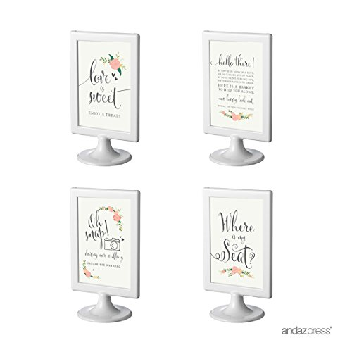 Andaz Press Wedding and Event Framed Party Signs, Floral Roses, Cards and Gifts Set, 4x6-inch, 8-Pack, Includes Frames