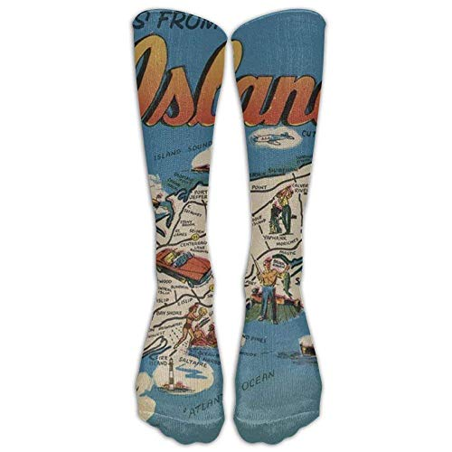 Long Greetings From Long Island, New York Art Print Socks Women's Winter Vintage Cotton Wool Knit Long Crew (New York Dog Wool)