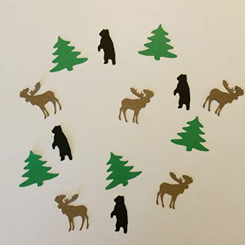 Bear Tree & Moose Rustic Confetti, Woodland Party Supplies, Woodland Baby Shower Decorations, Moose Decorations, Rustic Wedding Favors, Rustic Cut Outs, Table Scatter, Camping Theme, Up North - Confetti Bear