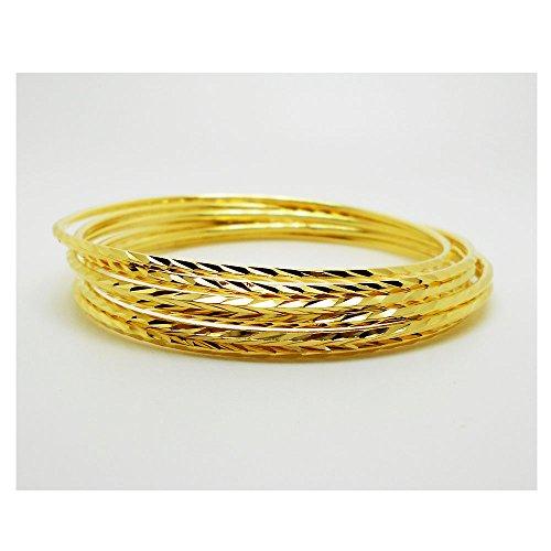 Set of 6 Multiple Bracelets Bangle 18k 22k 24k Thai Baht Yellow Gold - Bracelet 22k
