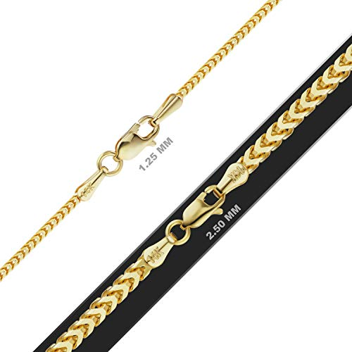 ITI Precious Genuine 585 14K Gold Franco Foxtail Chain in Solid 14K Yellow Gold (2.50, 24in)