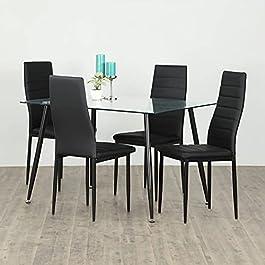 Helios Nora Regina Glass 4-Seater Dining Table Set