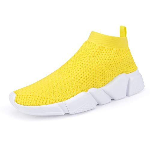 WXQ Women's Athletic Walking Shoes Lightweight Fashion Sneakers Breathable Flyknit Running Shoes Yellow 38 (Women Sneakers Yellow)