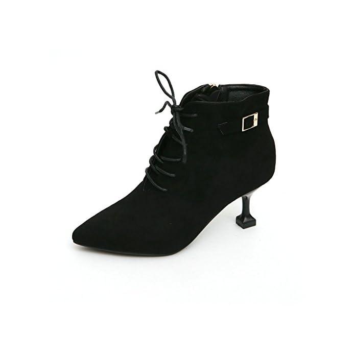 Ajunr-scarpe Da Donna Alla Moda Autunno E Inverno Martin Stivali In Pelle Scamosciata Tie Semplice Gatto Con Gli Un