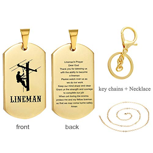 LF Mens Womens Stainless Steel Lineman Necklace Lineman Prayer Necklaces Keychain Sentiment Inspirational Lineman Gifts Pendant Jewelry for Husband,Wife,Lover for Christmas,Birthday Gift