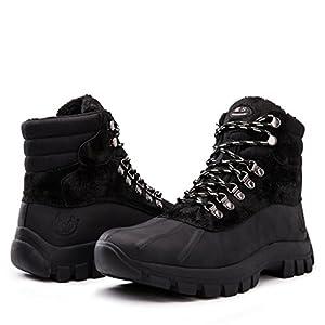 kingshow Men's 1705 Snow Boots (10 M US Men's, Black)