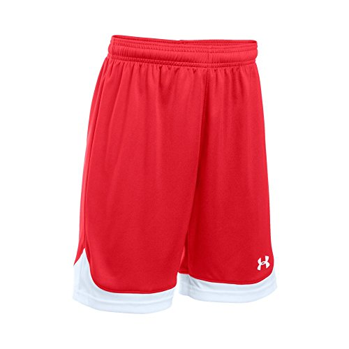 (Under Armour Boys' Maquina Shorts, Red (600)/White, Youth Large)
