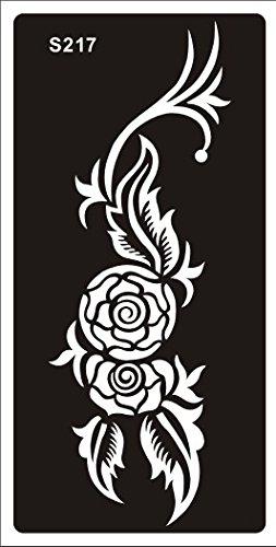 Mehndi Tattoo Stencil Mehndi Tatuaggi all'hennè S217 - Usa e getta - Per Tatuaggio all'henné, scintillio tatuaggio e airbrush tatuaggio Tie