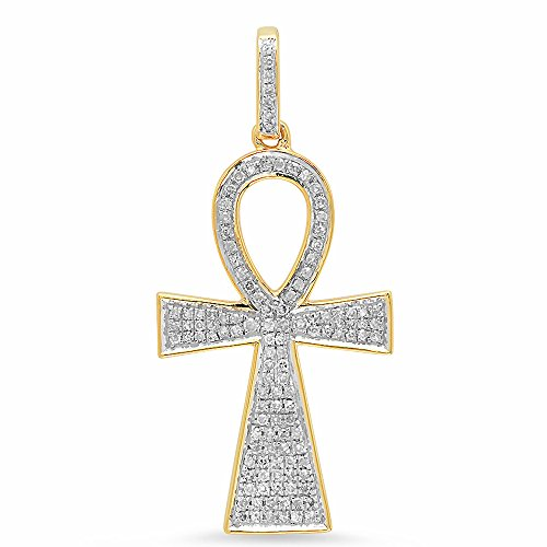 Yellow Gold Round Cut Diamond Ladies Micro Pave Cross Pendant 1/3 CT (Chain Not Included) (10k Yellow Cross Diamond Pendant)