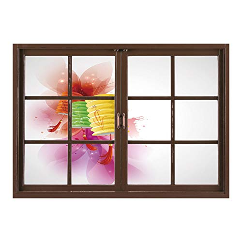 SCOCICI Wall Mural, Window Frame Mural/Lantern,Mid Autumn Celebration Singapore China East Culture Festival Candles Happiness Decorative,Multicolor/Wall Sticker Mural