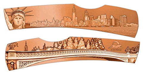 R DKC-1201-C New York City Folding Pocket Knife Statue of Liberty Central Park Hand Engraved Minted In Antique Copper 4.5 oz 6.75