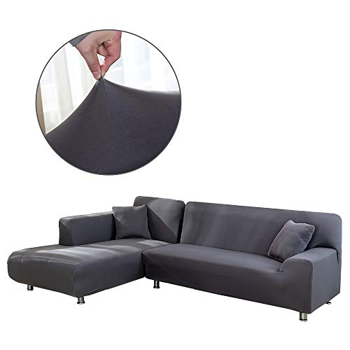 Cepheus L Shape Couch Covers, Anti-Slip Stain Resistant Sectional Slipcovers, Stretch Elastic Fabric L-Shaped Sofa Slipcover with 1pcs Free Pillow Covers (L-Shape Sofa Left 3+4 Seats, Grey) (L Shaped Small Sofa Sectional)