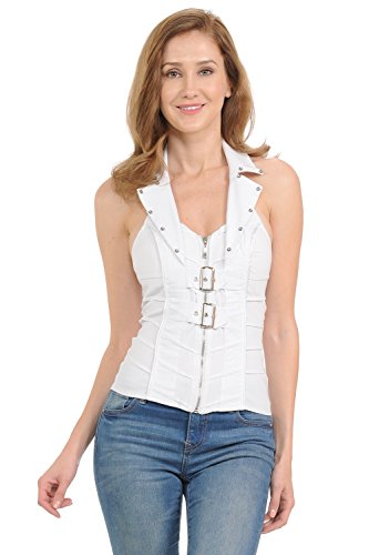 (Lydia USA Sexy Front Two Belt with Zip Up Rhinestone Spandex Vest Halter Top (Small, White))