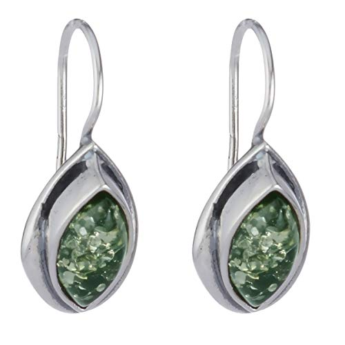 Sterling Silver and Baltic Green Amber Earrings