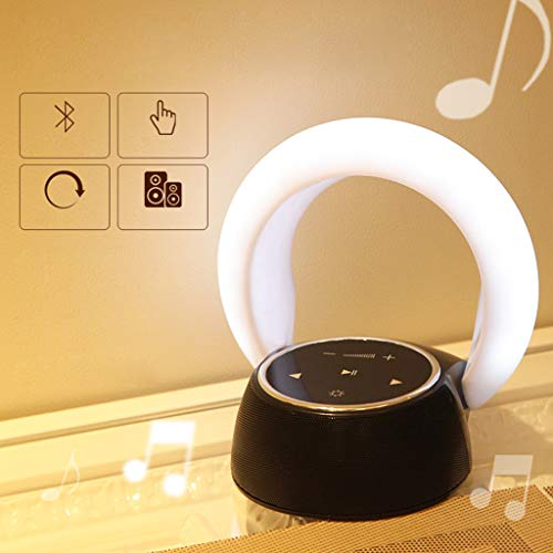 Gotian Portable Wireless Bluetooth Speaker, LED Night Light 3 Colors - Moon Bay Design, Support Handsfree Call, Compatible with All Bluetooth Devices - Bluetooth Speaker &Night Light (White)