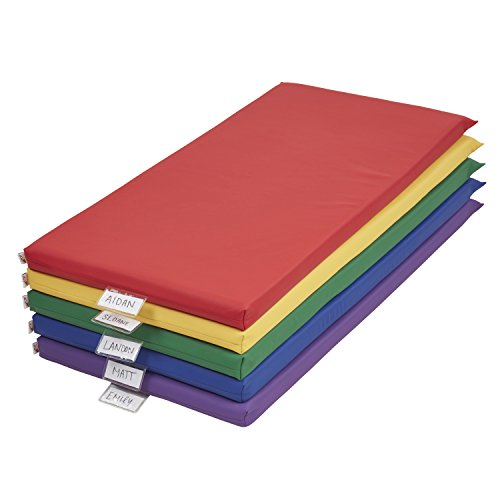 "ECR4Kids 2"" Thick Rainbow Rest Nap Mats with Name Tag Holder"