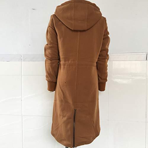 de brun avec Veste capuche glissière longues serrage fermeture manches et Dfgthrthrt et à pour cordon femme T1zwBtZx