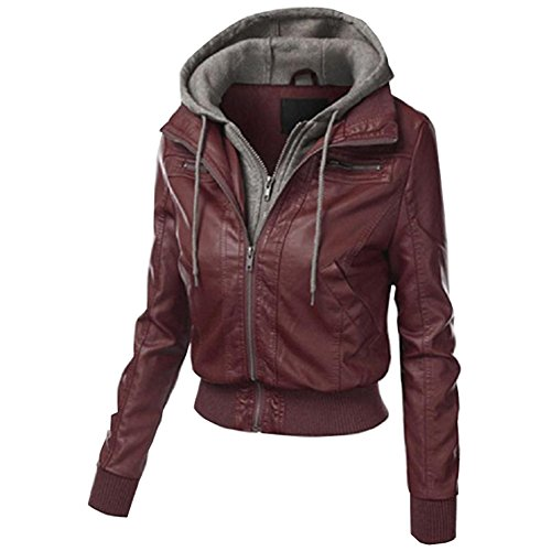 Cartiar Women's Fleece Hooded Zipper Leather Shell Blazer Jacket Brown US S(Tag L)