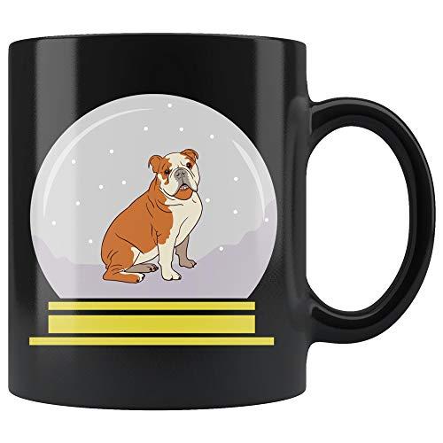 Snow Globe Bulldog Black Coffee Mug, Funny Gifts for Dog Lovers