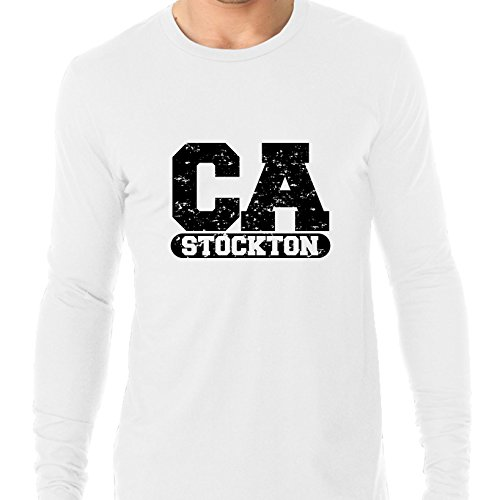 Hollywood Thread Stockton, California CA Classic City State Sign Men's Long Sleeve T-Shirt -