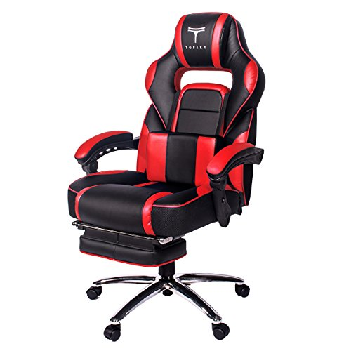 416ZNB%2BzZKL - TOPSKY High Back Racing Style PU Leather Executive Computer Gaming Office Chair Ergonomic Reclining Design with Lumbar Cushion Footrest and Headrest