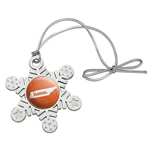 - Graphics and More Tennessee TN Home State Textured Orange Officially Licensed Metal Snowflake Christmas Tree Holiday Ornament
