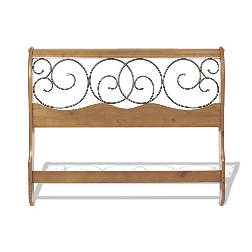 Dunhill Complete Bed with Wood Sleigh Style Frame and Autumn Brown Metal Swirling Scrolls, Honey Oak Finish, King